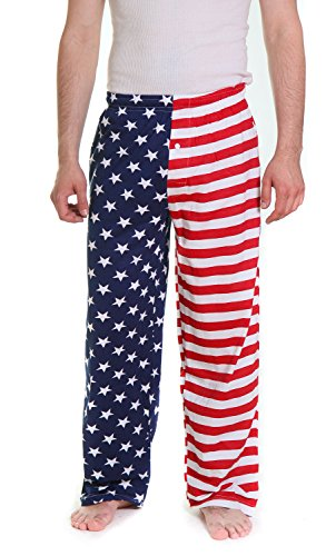 Fun Boxers Mens USA Flag Loungewear Pajama Pants (Red, White & Blue, XL)