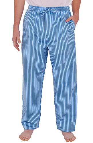 Alexander Del Rossa Mens Woven Cotton Pajama Pants, Long Pjs, 2XL Blue and White Striped (A0696R152X)