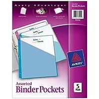 """Avery Binder Pockets, colores surtidos, 8.5 """"x 11"""", sin ácido, duraderas, 5 chaquetas oblicuas (75254)"""