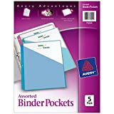 Avery Binder Pockets, Assorted Colors, 8.5' x 11', Acid-Free, Durable, 5 Slash Jackets (75254)