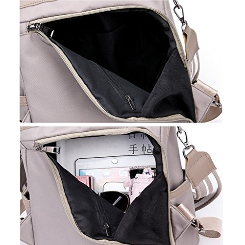 Lightweight Backpack Waterproof Fashion Nylon Women Shoulder Bag Khaki Anti theft Covertible Shuibian 7q05xwTT