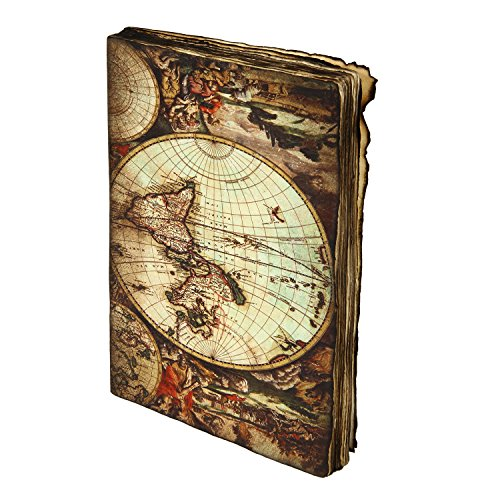 Icrafts Leather World Map Diary Blank Journal Handmade Sketchbook Writing Journal Burnt Edges For Men  Women |Handmade|(7X5 in)