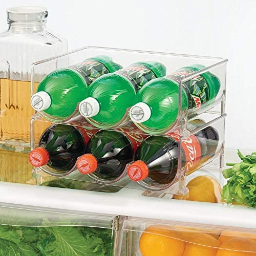 51jBPCOWzNL. AC mDesign Modern Plastic Stackable Vertical Standing Water Bottle Holder Stand - Storage Organizer for Kitchen Countertops, Pantry, Fridge - Each Rack Holds 3 Containers, 2 Pack - Clear    From the brand
