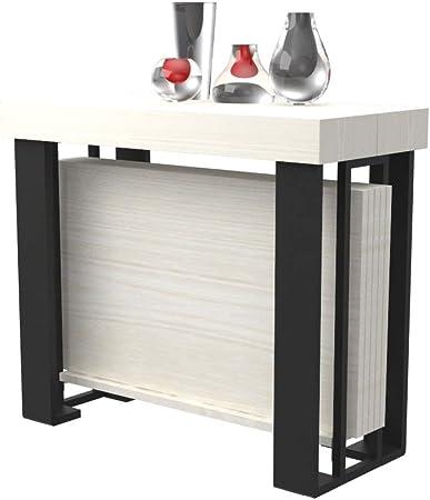 Mesa consola extensible Urano con puerta allunghe - Madera Laminado y patas de acero negro mate - Extensible de 40 cm 300 cm, de 10 colores madera - muebles cocina casa diseño blanco alerce: Amazon.es: Hogar