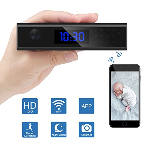 Spy Camera?Relohas Hidden Camera WiFi HD 1080P Recorder,Covert Cameras Infrared Night Vision,Monitoring Detection?Wireless Nanny Cam Sony Lens Indoor Home Security (Black)