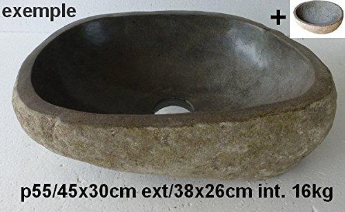 Lavandino lavabo in pietra naturale 45 cm + 1 porta sapone. Scelta su foto con dimensioni esatte. exotica import