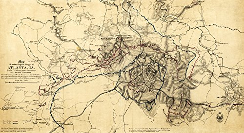 Atlanta Campaign - (1864) - Civil War Panoramic Map (36x54 Giclee Gallery Print, Wall Decor Travel Poster)