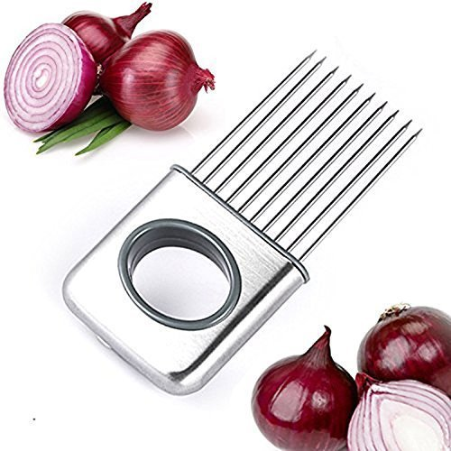 NYKKOLA Onion Holder Vegetable Potato Cutter Slicer Gadget Stainless Steel Fork Slicing Odor Remover Kitchen Tool Aid Gadget Cutting Chopper (Stainless Steel)