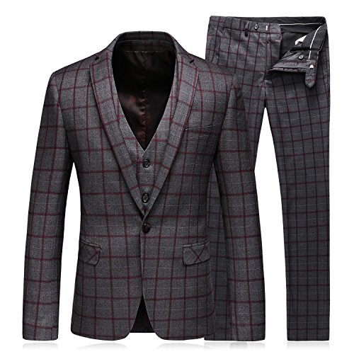 iece Suit One Button Plaid Slim Fit Blazer Jacket Coat Vest & Pants (Mens Plaid Fashion Suit)