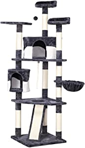 go2buy 79in Cat Tree Furniture with Mouse Toy and Scratching Post Beige