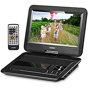 "UEME 10.1"" Portable DVD Player CD Player with Car Headrest Holder, Swivel Screen Remote Control Rechargeable Battery Car Charger Wall Charger, Personal DVD Player PD-1010 (Black)"