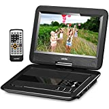 "UEME 10.1"" Portable DVD Player CD Player with Car Headrest Holder, Swivel Screen Remote Control Rechargeable Battery Car Charger Wall Charger, Personal DVD Players PD-1010 (Black)"