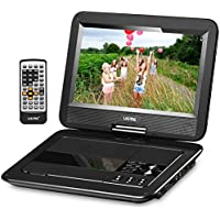 UEME 10.1' Portable DVD Player CD Player with Car Headrest Holder, Swivel Screen Remote Control Rechargeable Battery Car Charger Wall Charger, Personal DVD Player PD-1010 (Black)