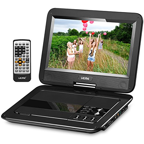 UEME 10.1″ Portable DVD Player CD Player with Car Headrest Holder, Swivel Screen Remote Control Rechargeable Battery Car Charger Wall Charger, Personal DVD Player PD-1010 (Black)