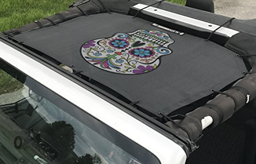 Price comparison product image Alien Sunshade Jeep Wrangler Printed Graphic Mesh Shade Top Cover with 10 Year Warranty Provides UV Protection for Front Passengers 2-Door or 4-Door JK or JKU (2007-2017) (Sugar)