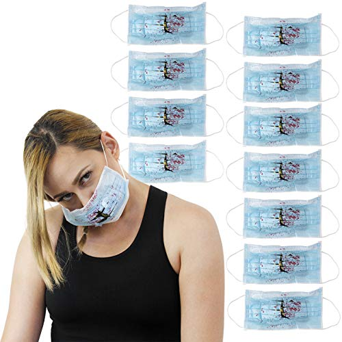 Bloody Surgeon Mask Props - 12-Pack Blood Splatter