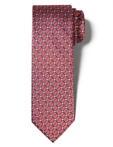 Origin Ties Men's Fashion 100% Silk Handmade Painted Spot Easy-matching Pin dots  Plaid 3 Tie Copper Brown