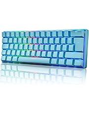UK Layout 60% Mechanisch Gaming Toetsenbord Type C Bedraad 61 Toetsen LED Backlit USB Waterdicht Toetsenbord 14 Chroma RGB Backlight Volledige Anti-ghosting Toetsen (Blauwe/Blauwe Schakelaar)
