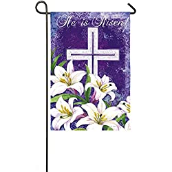 Evergreen Easter Cross and Lilies Suede Garden Flag, 12.5 x 18 inches