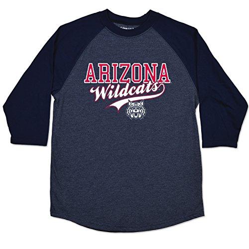 NCAA Arizona Wildcats College Kids Youth Home Run Raglan Tee, Size (10-12)/Medium, Navy (Arizona Wildcats T-shirts)