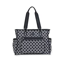 Carter's City Tote - Large, Roomy Purse Style Diaper Bag for Women - Cute, Designer Bag is great for Newborns and Toddlers - Black and White Outside, Pink Inside – Zip Top - Wipeable Changing Pad