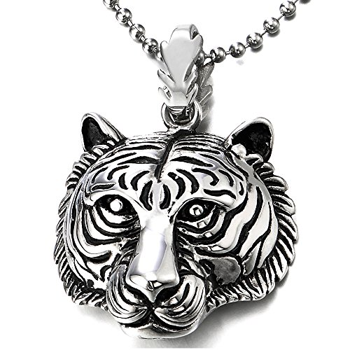 - COOLSTEELANDBEYOND Stainless Steel Mens Women Tiger Head Pendant Necklace with 30 inches Ball Chain