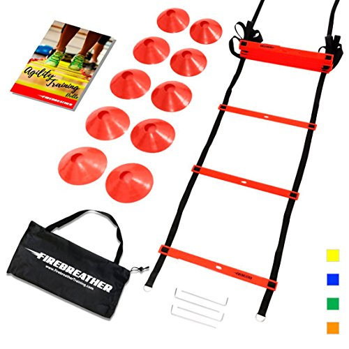 Agility Kit (AGILITY LADDER & CONES by FireBreather. Powerful Training Equipment to boost Speed and Cardio in Soccer, Football & Sports. Includes 15ft Ladder, 10 Cones, Pegs, Nylon Carrying Bag & E-book)