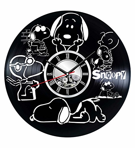 Snoopy Wall Clock Made of Vintage Vinyl Records - Stylish Clock and Amazing Gifts Idea - Unique Home Decor - Personalized Presents for Men Women Kids - Great for Living Room Bedroom Kitchen (Snoopy Gifts Personalized)