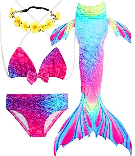 2Pcs Girls Cute Swimsuit Mermaid Bikini Set for Swimming Ruffles Bathing Suit Swimwear 1-5T
