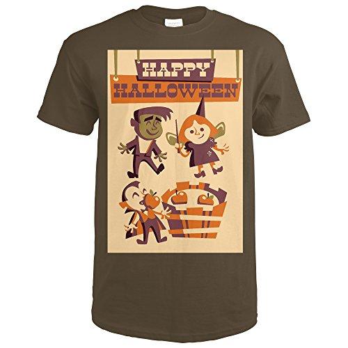 Halloween Chocolate Dark (Apple Bobbing - Retro Halloween (Dark Chocolate T-Shirt X-Large))