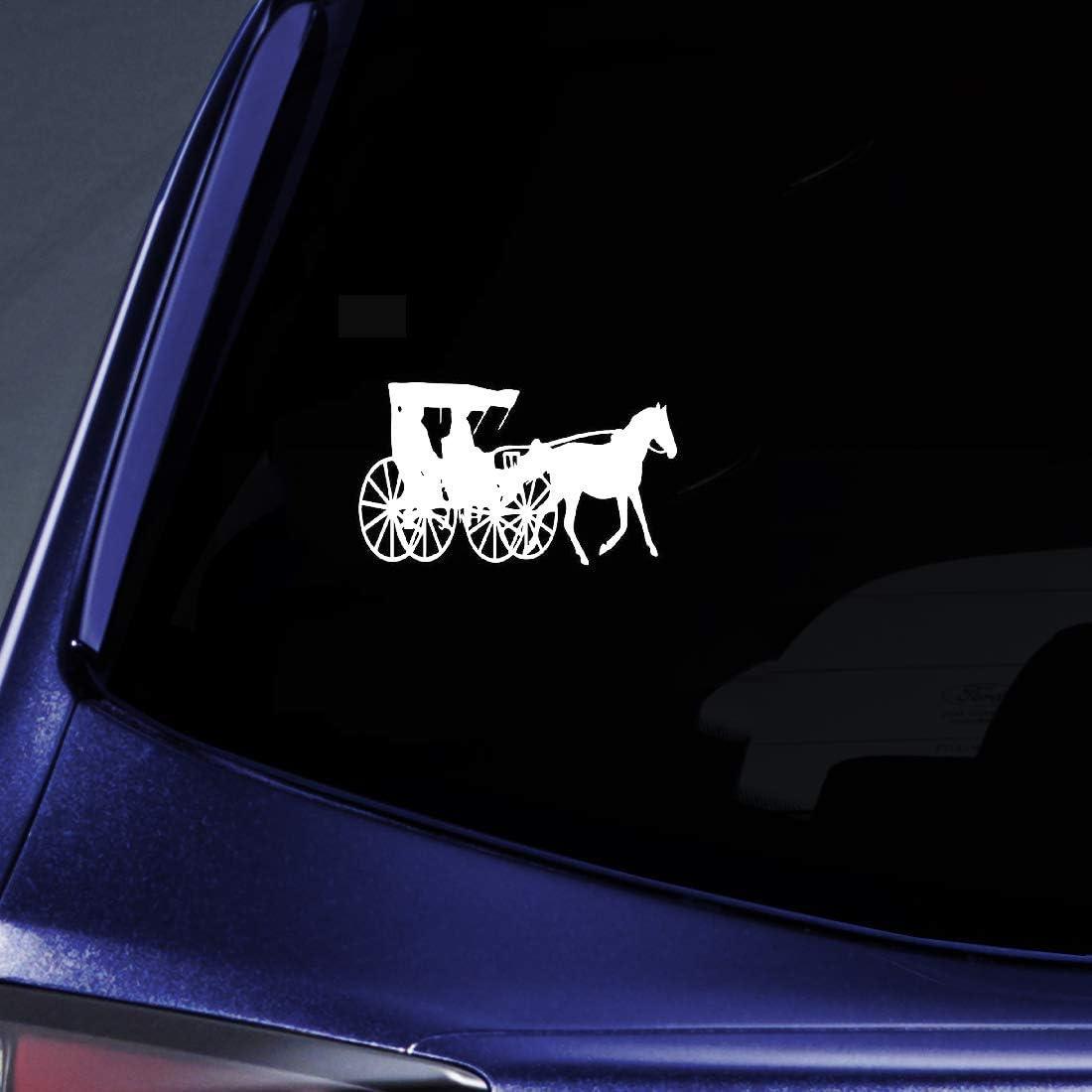 15.8Cmx9Cm Siluetas de carruajes antiguos Caballo Calcomanía fresca Decoración encantadora Etiqueta engomada del coche Delicado para el coche Etiqueta de la ventana del ordenador portátil