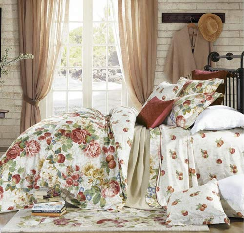 Eikei Shabby Chic French Country Garden Floral Duvet Quilt Cover by, Colorful Blossom Fruit Print Reversible Cotton Bedding Set Cottage Style Blooming Orchard Meadow Flowers (King, ()