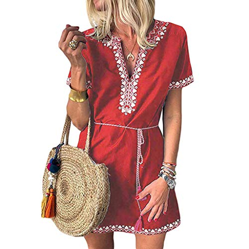 Emimarol Womens Dress Casual Print Boho Dress V-Neck Short Sleeve Mini Dress Red ()