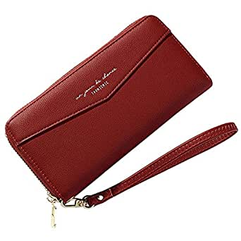 Wallet for Women Zip Around Wallet Clutch Wristlet Travel Long Purse for Ladies - Red - One_Size