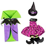 E-Living Halloween Wine Bottle Covers, Purple & Green Bat Cape w/ Polka Dot & Stripes Witch Outfit