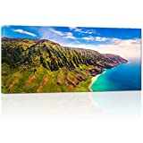 Visual Art Decor Large Nature Canvas Prints Napali Coast Kauai Hawaii Landscape Photograph Prints Home Decor Office Wall Art Ready to Hang(24''x48'')