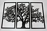 Skyline Workshop Tree of Life Ebony - 3 Panel Wood Wall Art - Beautiful Living Room Decor - Stunning Modern Art