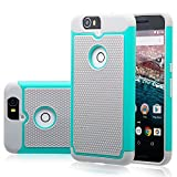 Nexus 6P Case, GOOQ Solid Shockproof Silicone + Hard Case Cover Stylish Design Dual layer Protection Defender Anti-scratch Anti-slip Hard Slim Case Cover for Huawei Nexus 6P(Gray/Turquoise)
