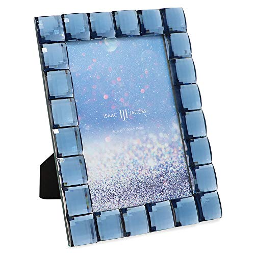 Isaac Jacobs Decorative Sparkling Navy Jewel Picture Frame, Photo Display & Home Décor (4x6, Navy)