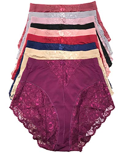 Peachy Panty Women's 6 Pack High Waist Cool Feel Brief Underwear Panties S-5xl (Lace Decorated Girdle, Small)