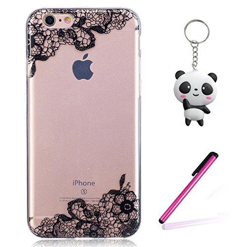iPhone 6 6S Coque Fleurs diagonales noires Premium Gel TPU Souple Silicone Transparent Clair Bumper Protection Housse Arrière Étui Pour Apple iPhone 6 6S + Deux cadeau