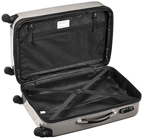 HAUPTSTADTKOFFER - Alex - 2er Koffer-Set Hartschale glänzend, TSA, 65 cm + 55 cm, 74 Liter + 42 Liter, Graphit-Gelb Champagner-graphit