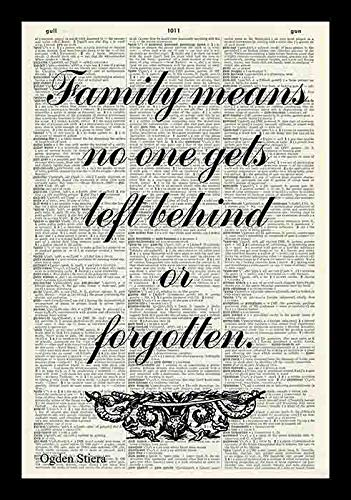 79 BiiUYY Family Means No One Gets Left Behind Or Forgotten Family Inspirational Quote LILO & Stitch Quote Print Literature Vintage Dictionary Art Print-Book Art Print-Wall Hanging-Artwork 12x8 inch