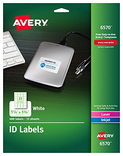 Avery Permanent ID Labels for Laser and Inkjet Printers, 1.25 x 1.75 Inch, White, 480 Labels (6570) ()