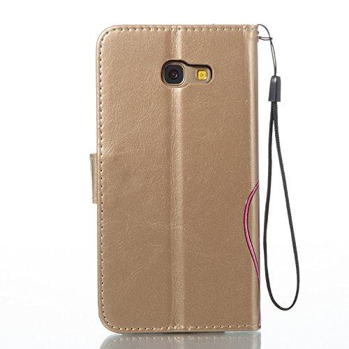 Para Samsung Galaxy A5 2017/A520 funda, (gris) Narcisos caja del teléfono de la PU patrón en relieve ,Función de Soporte Billetera con Tapa para Tarjetas correa de mano soporte para teléfono Oro