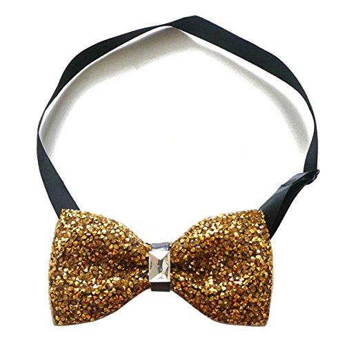 Sunny Home Mens Crystal Shining Pre Tied Bow Tie Bowtie Wedding Party (Golden)