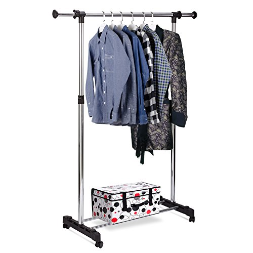 Rukerway Heavy Duty Garment Rack Single Rail Adjustable Clot