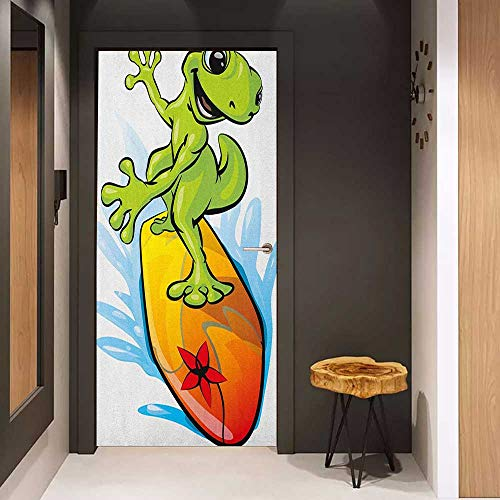Glass Door Sticker Decals Ride The Wave A Gecko Surfing with The Water Cute Animal Humor Cartoon Door Mural Free Sticker W30 x H80 Orange Lime Green Sky Blue
