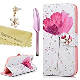 iPhone 6S Case 4.7 Inch, iPhone 6 Case - Mavis's Diary Bling 3D Handmade Wallet Bling Diamonds White PU Leather Butterfly Magnetic Flip Cover Elegant Pink Flower Pattern with Dust Plug & Stylus