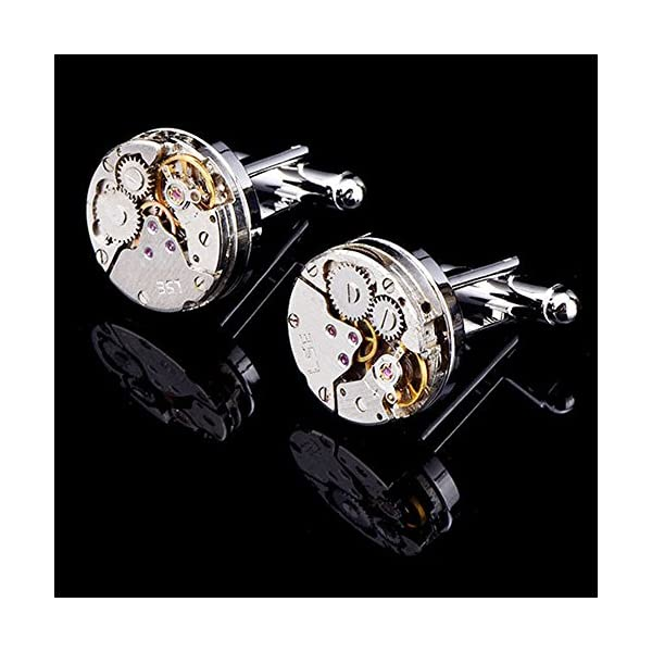 EnjoIt Mens Cufflinks Mechanical Watch Movement Shape Steampunk Cufflinks Gifts for Men 4